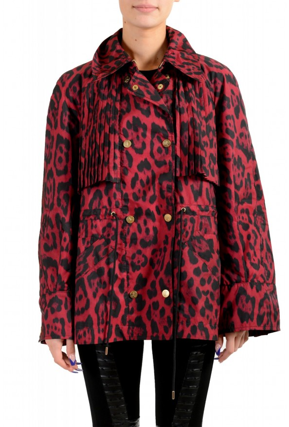 Just Cavalli Women's Animal Print Double Breasted Trench Coat Jacket