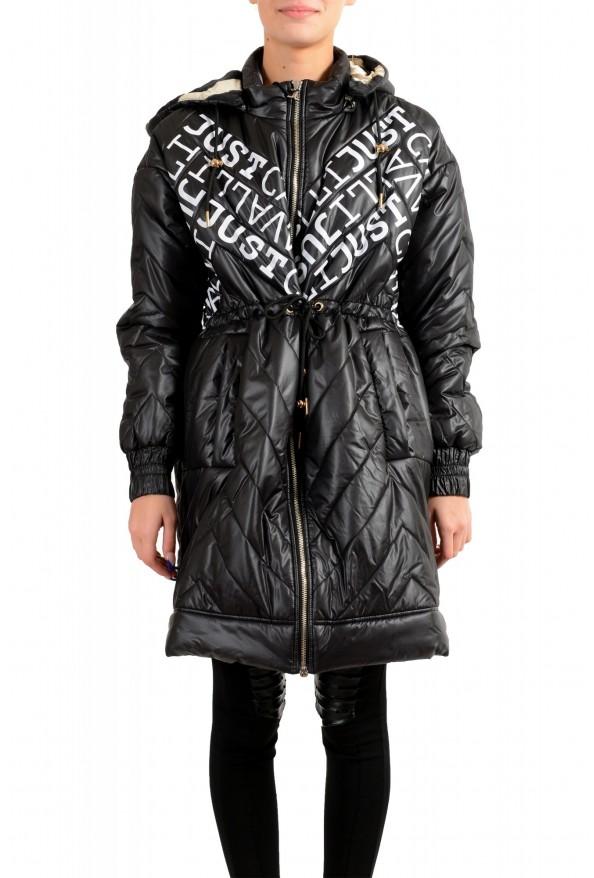 Just Cavalli Women's Multi-Color Logo Print Hooded Parka Jacket Coat