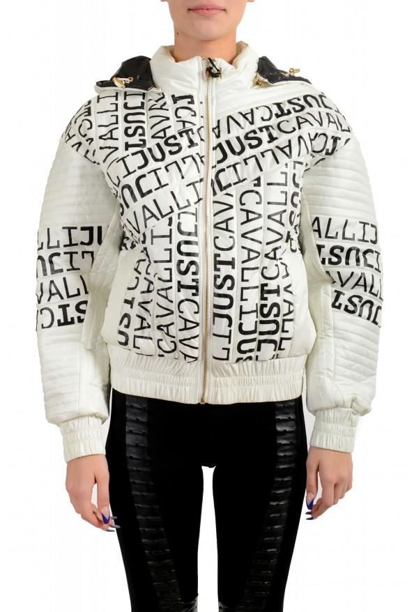 Just Cavalli Women's Multi-Color Logo Print Hooded Parka Jacket