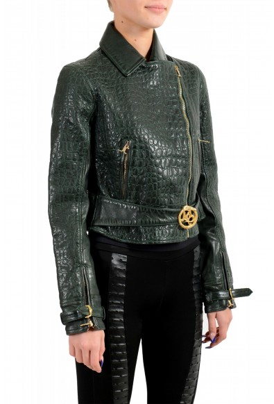 Just Cavalli Women's Green Croc Print 100% Leather Bomber Jacket: Picture 2