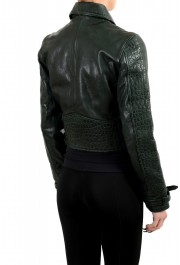 Just Cavalli Women's Green Croc Print 100% Leather Bomber Jacket: Picture 3