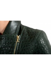 Just Cavalli Women's Green Croc Print 100% Leather Bomber Jacket: Picture 4
