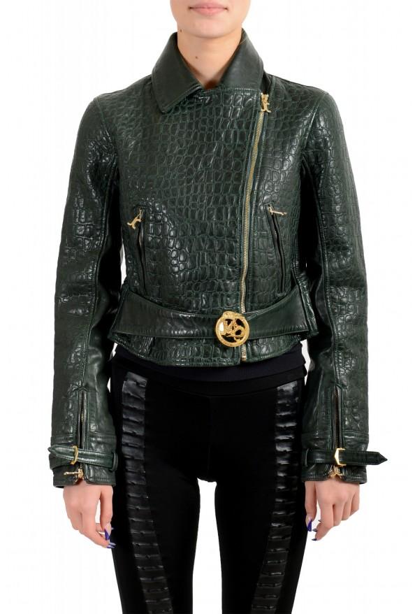 Just Cavalli Women's Green Croc Print 100% Leather Bomber Jacket