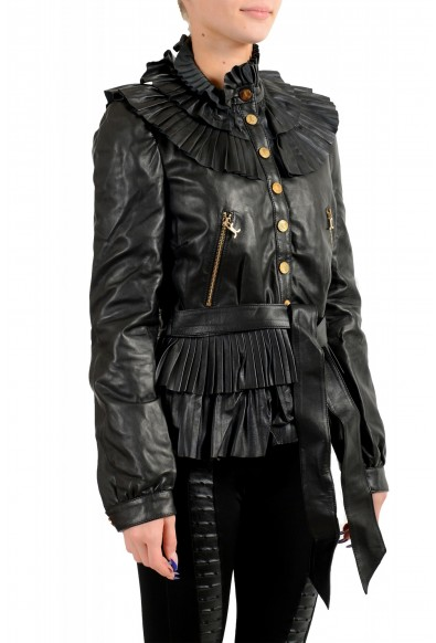 Just Cavalli Women's Black 100% Leather Belted Bomber Jacket : Picture 2