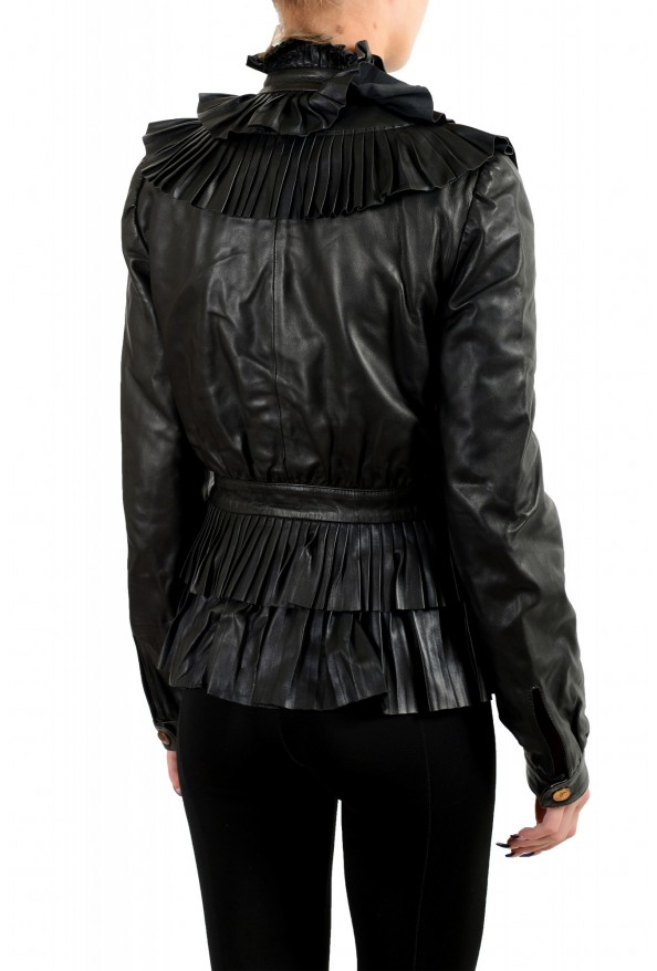 Just Cavalli Women's Black 100% Leather Belted Bomber Jacket : Picture 3