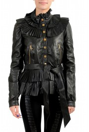 Just Cavalli Women's Black 100% Leather Belted Bomber Jacket
