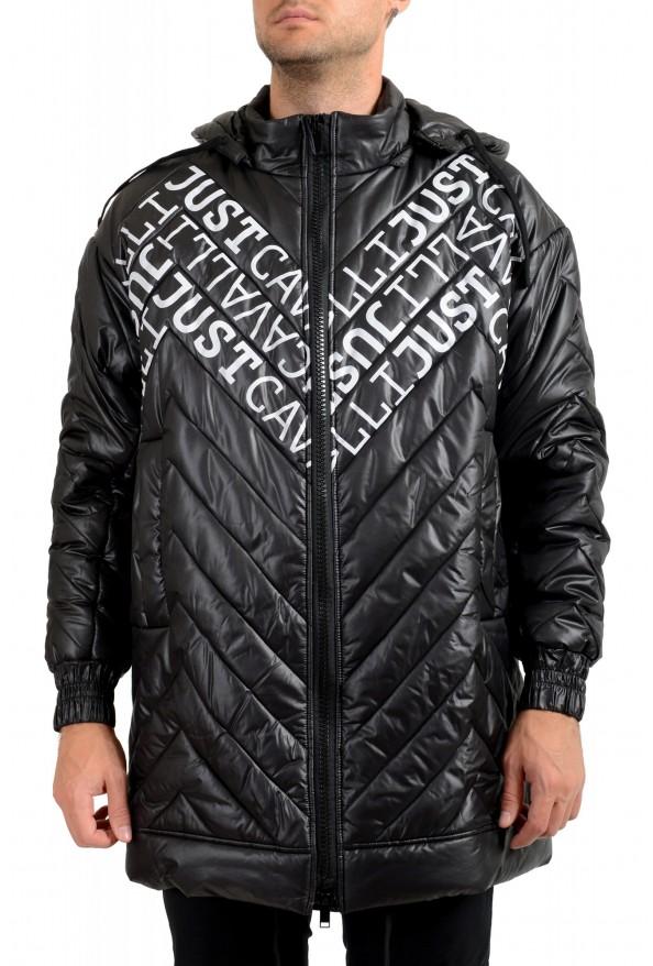 Just Cavalli Men's Black Logo Print Hooded Full Zip Parka Jacket