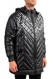 Just Cavalli Men's Black Logo Print Hooded Full Zip Parka Jacket : Picture 2