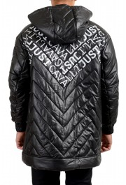 Just Cavalli Men's Black Logo Print Hooded Full Zip Parka Jacket : Picture 3