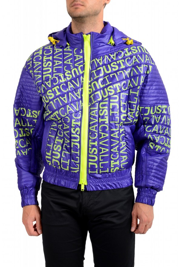 Just Cavalli Men's Logo Print Hooded Full Zip Parka Jacket