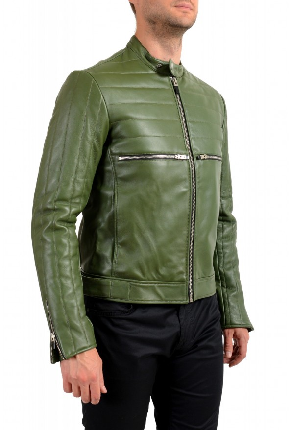 Just Cavalli Men's Olive Green 100% Leather Bomber Jacket : Picture 2