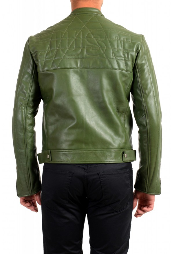 Just Cavalli Men's Olive Green 100% Leather Bomber Jacket : Picture 3