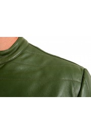 Just Cavalli Men's Olive Green 100% Leather Bomber Jacket : Picture 4