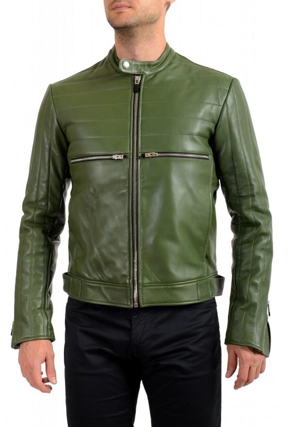 Just Cavalli Men's Olive Green 100% Leather Bomber Jacket
