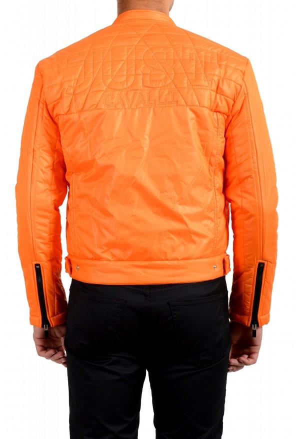 Just Cavalli Men's Orange Full Zip Insulated Bomber Jacket : Picture 3