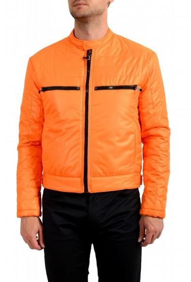 Just Cavalli Men's Orange Full Zip Insulated Bomber Jacket