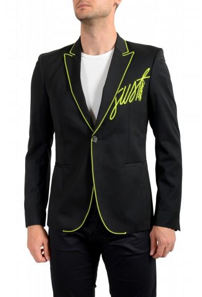 Just Cavalli Men's Embellished Black One Button Sport Coat Blazer