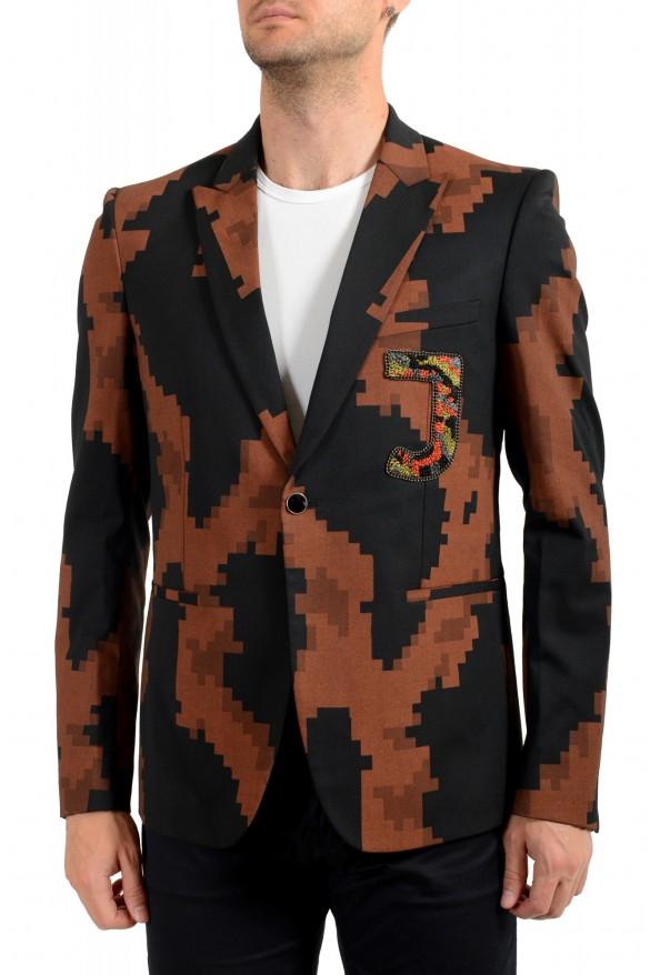Just Cavalli Men's Multi-Color Wool One Button Sport Coat Blazer