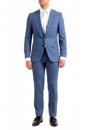 "Hugo Boss Men's ""Huge6/Genius5"" Slim Fit Plaid 100% Wool Two Button Suit"