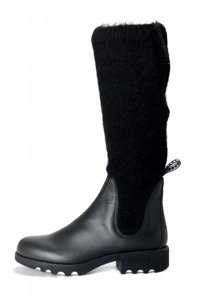 Miu Miu Women's Leather & Mohair Knee High Heeled Boots Shoes: Picture 2
