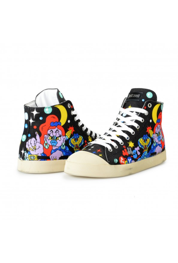Just Cavalli Men's Canvas Multi-Color High Top Fashion Sneakers Shoes: Picture 8