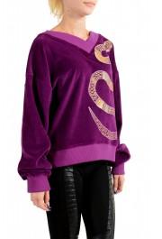 Just Cavalli Women's Purple Embellished Velour Sweatshirt : Picture 2
