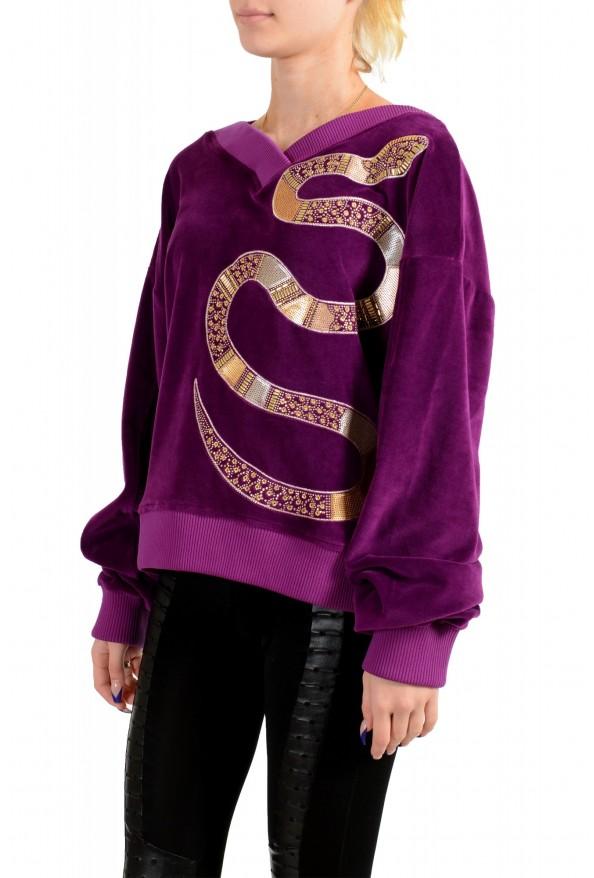 Just Cavalli Women's Purple Embellished Velour Sweatshirt : Picture 3