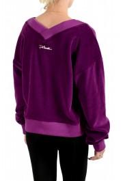 Just Cavalli Women's Purple Embellished Velour Sweatshirt : Picture 4