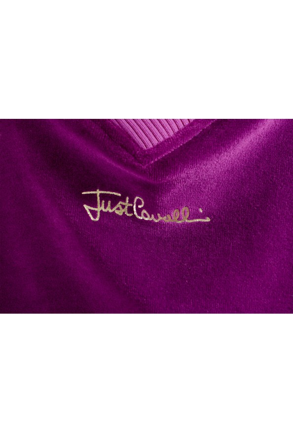 Just Cavalli Women's Purple Embellished Velour Sweatshirt : Picture 5