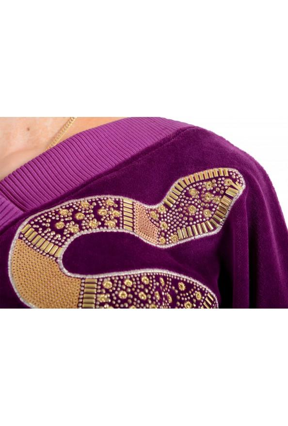 Just Cavalli Women's Purple Embellished Velour Sweatshirt : Picture 6