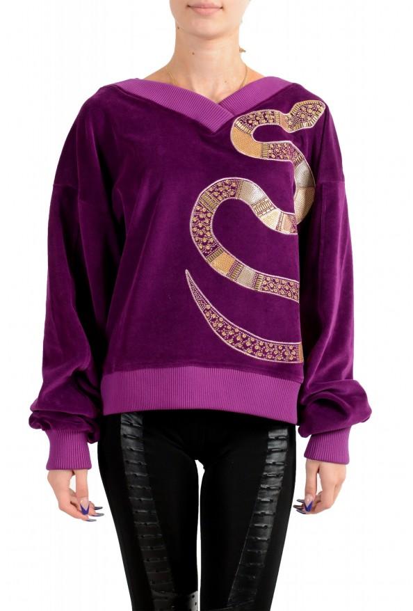 Just Cavalli Women's Purple Embellished Velour Sweatshirt