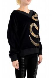 Just Cavalli Women's Black Embellished Velour Sweatshirt: Picture 2