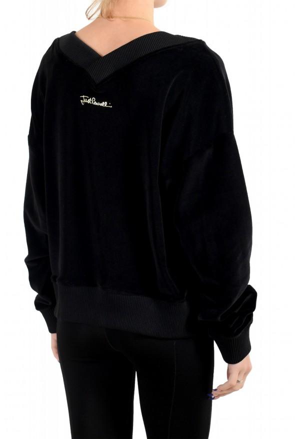 Just Cavalli Women's Black Embellished Velour Sweatshirt: Picture 4