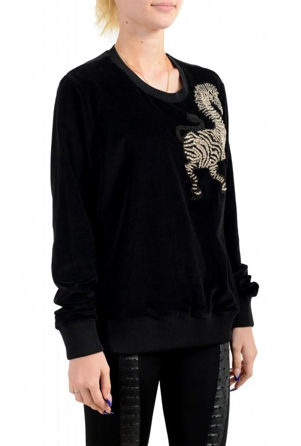 Just Cavalli Women's Black Embellished Velour Sweatshirt : Picture 2