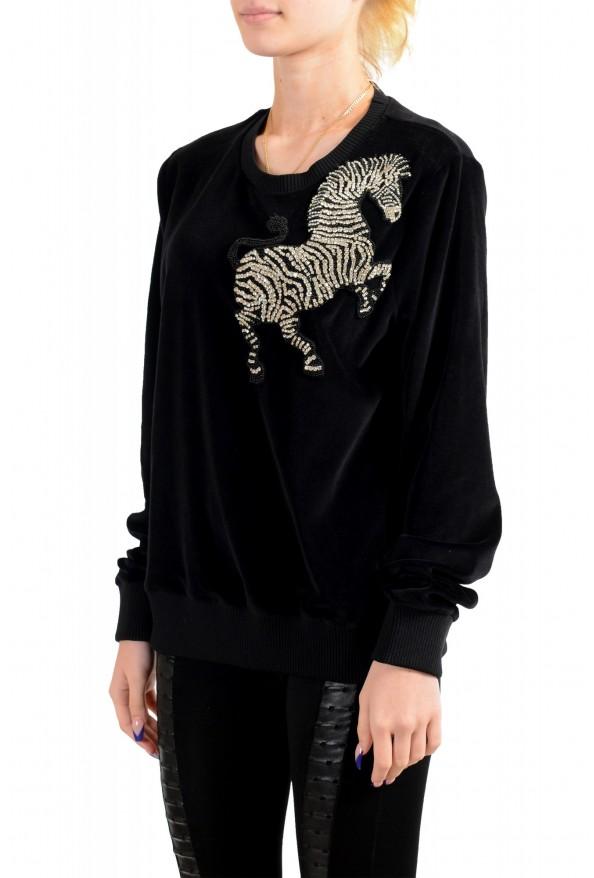 Just Cavalli Women's Black Embellished Velour Sweatshirt : Picture 3
