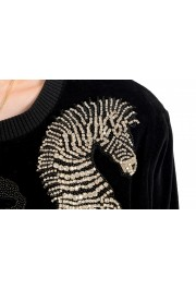Just Cavalli Women's Black Embellished Velour Sweatshirt : Picture 5