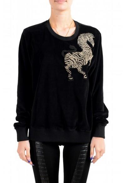 Just Cavalli Women's Black Embellished Velour Sweatshirt