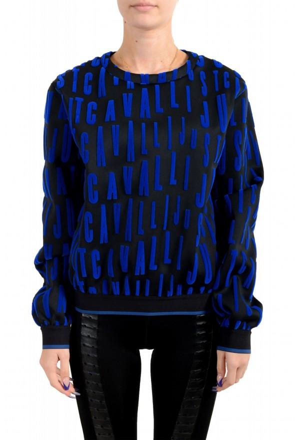 Just Cavalli Women's Black Logo Print Crewneck Sweatshirt