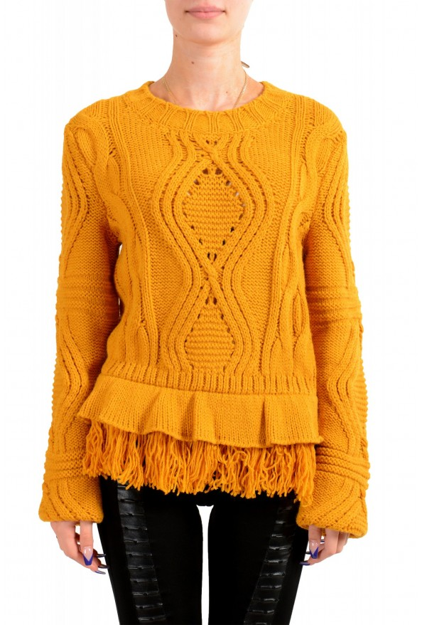 Just Cavalli Women's Mustard Yellow Wool Alpaca Crewneck Sweater