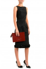 Salvatore Ferragamo Women's Red 100% Leather Logo Wristlet Clutch Bag: Picture 7