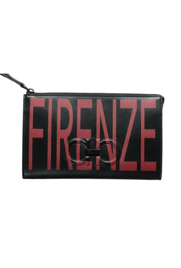 Salvatore Ferragamo Women's Black & Red 100% Leather Wristlet Clutch Bag: Picture 2
