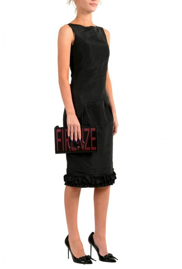 Salvatore Ferragamo Women's Black & Red 100% Leather Wristlet Clutch Bag: Picture 7