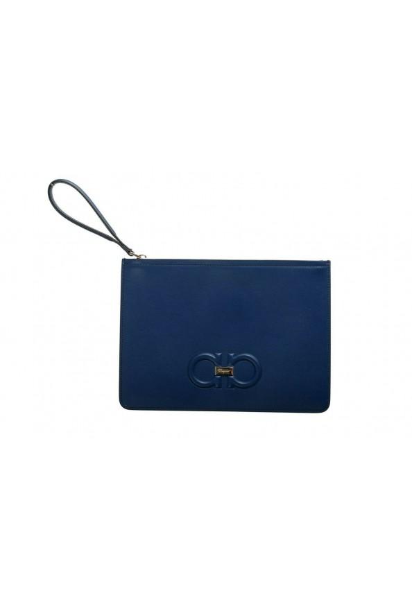 Salvatore Ferragamo Women's Blue 100% Leather Logo Wristlet Clutch Bag