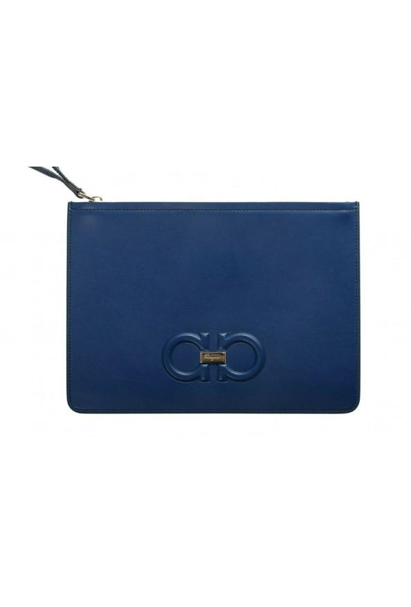 Salvatore Ferragamo Women's Blue 100% Leather Logo Wristlet Clutch Bag: Picture 2