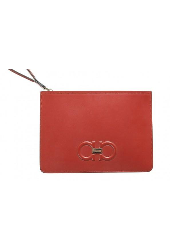 Salvatore Ferragamo Women's Red 100% Leather Logo Wristlet Clutch Bag: Picture 2