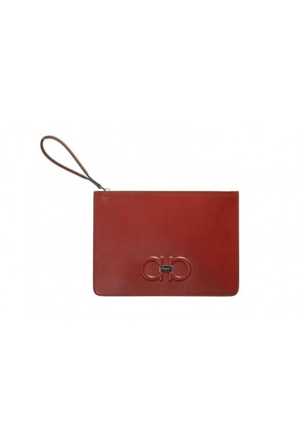 Salvatore Ferragamo Women's Red 100% Leather Logo Wristlet Clutch Bag