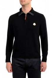 Moncler Men's Black 1/3 Zip Turtleneck Wool Cashmere Sweater