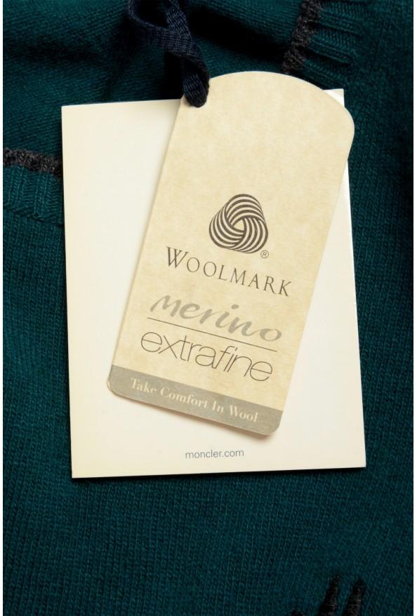 Moncler Men's Emerald Green 100% Wool Crewneck Sweater: Picture 7