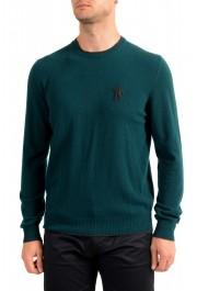 Moncler Men's Emerald Green 100% Wool Crewneck Sweater