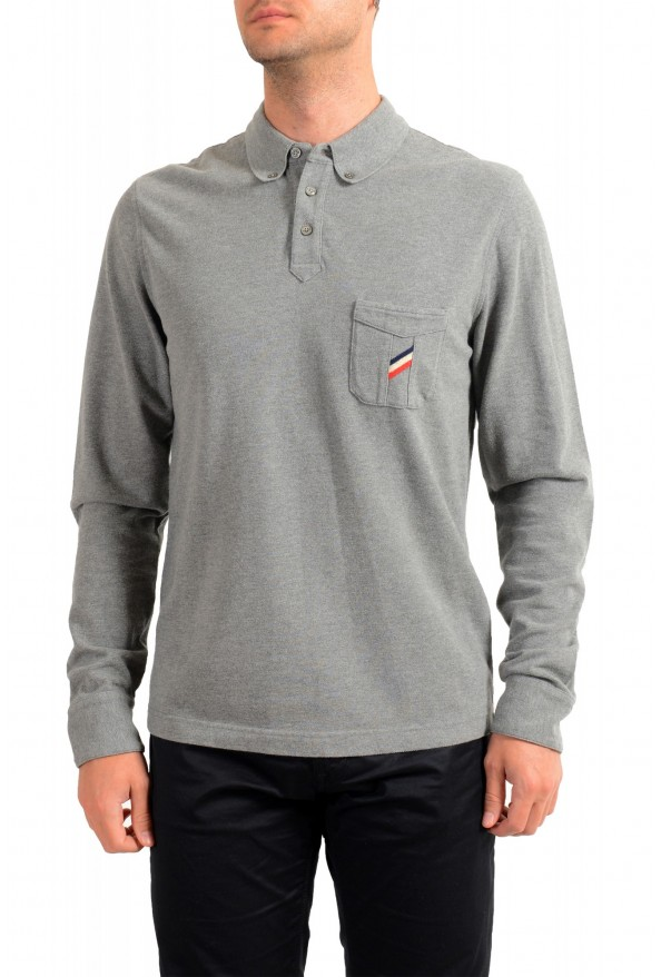 Moncler Men's Slim Fit Gray Long Sleeve Polo Shirt